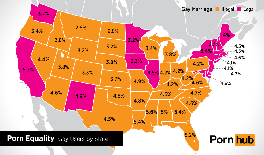 Porn Equality Gay Viewers By US State Pornhub Insights - Pornhub porm map of us