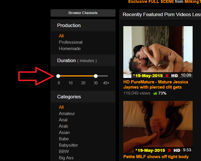 We Have Added In A New Feature For Your Viewing Pleasure Now You Can Filter Videos By Duration So If You Dont Want A Whole Prolonged Scene Of Award